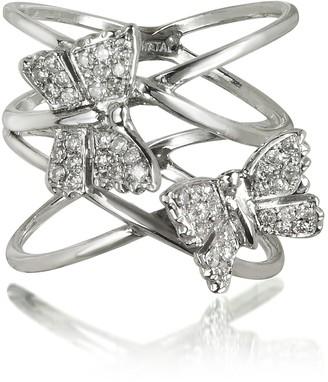 Bernard Delettrez Criss Cross 18K White Gold Ring w/Two Diamond Butterflies