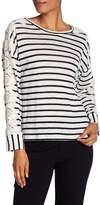 Laundry by Shelli Segal Linen Stripe Lace Sleeve Top