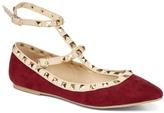 Wild Diva Burgundy Studded Ankle-Strap Pippa Flat