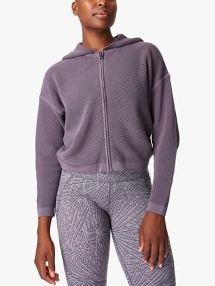 Sweaty Betty Wimbledon Mesh Zip Through Hoodie, Moonrock Purple