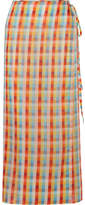 Miu Miu Checked Cotton-voile Wrap Midi Skirt - Orange