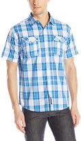 Southpole Men's Plaid Woven Short Sleeve Shirt with Medium Plaid Patterns
