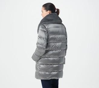 Martha Stewart Metallic Puffer Coat with Faux Fur Details