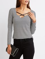 Charlotte Russe Strappy Striped Skimmer Tee