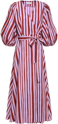 Beaufille Striped Cotton-poplin Wrap Dress