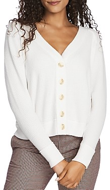 1 STATE Button-Front Pointelle Sweater