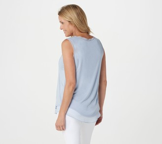 Lisa Rinna Collection Knit Tank with Chiffon Trim