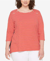 Tommy Hilfiger Plus Size Cotton Striped Chambray-Back Top