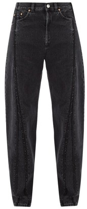 Vetements Raw-edge Panelled Straight-leg Jeans - Black
