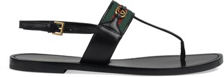 Gucci Women's leather thong sandal with Web