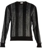 Saint Laurent Glitter-striped Cotton-blend Velour Sweater