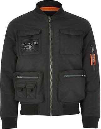 River Island Boys black Svnth utility bomber jacket
