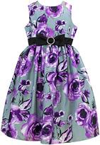 Jayne Copeland Purple & Gray Floral Dress - Toddler & Girls