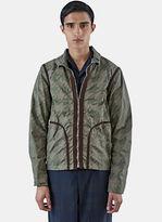 Kolor Men's Short Geometric Camo Jacket In Khaki