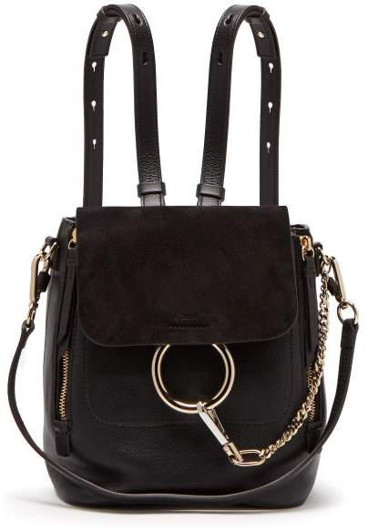 Chloé Faye Suede And Leather Small Backpack - Womens - Black