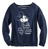 Disney Mickey Mouse Nautical Stripe Long Sleeve Pullover for Women