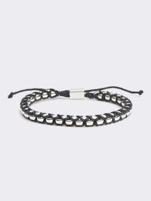 Tommy Hilfiger Black Braided Cord Box Chain Bracelet