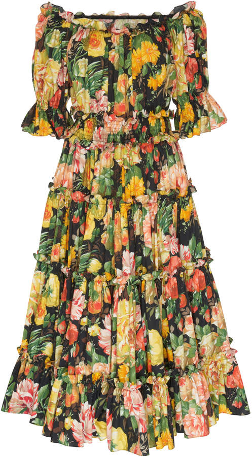 Dolce & Gabbana Off-The-Shoulder Floral Poplin Midi Dress