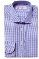 Turnbull & Asser - Blue Cutaway-collar Gingham Cotton-poplin Shirt