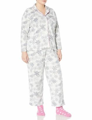 Karen Neuburger Women's Plus Size Long Sleeve Minky Fleece Pajama Set PJ