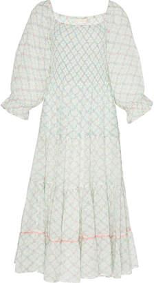 LoveShackFancy Rigby Smocked Midi Dress