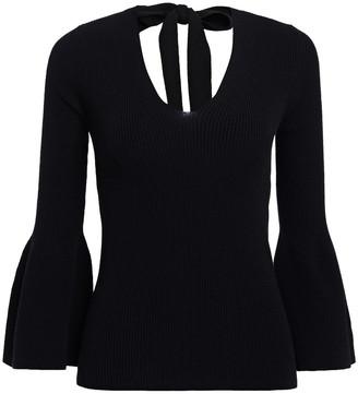 Carolina Herrera Tie-back Ribbed Wool-blend Sweater