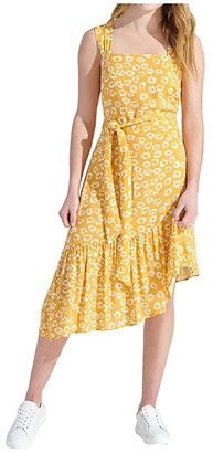 Sam Edelman Textured Animal Ruffle Asymmetrical Hem (Yellow/Ivory) Women's Dress