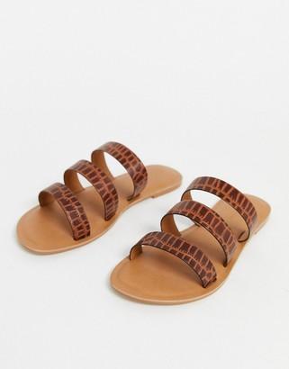 ASOS DESIGN Farren leather flat sandals in brown croc