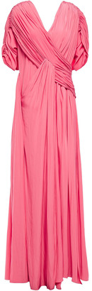 Lanvin Ruched Draped Cady Gown
