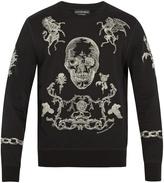 Alexander McQueen Embroidered skull and rose cotton sweatshirt
