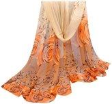 ABC® 1099 ABC® Women Scarf, Women Beautiful Rose Pattern Scarf Chiffon Shawl Wrap