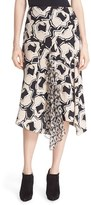 Diane von Furstenberg Women's Posey Ruffle Detail Print Drop Yoke Skirt