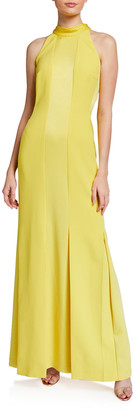 Escada Monochromatic Paneled Halter-Neck Gown