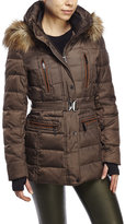 Vince Camuto Faux Fur Trim Hood Belted Down Coat