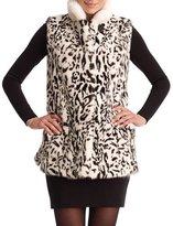 Gorski Reversible Leopard-Print Mink Vest, White