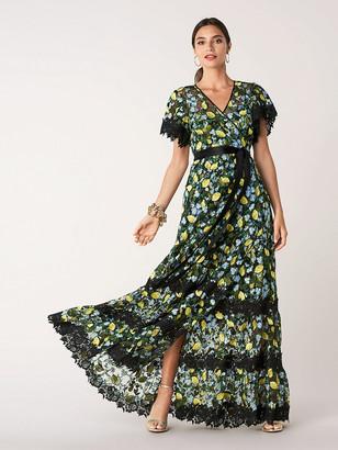 Diane von Furstenberg Victorious Embroidered Tulle Wrap Gown