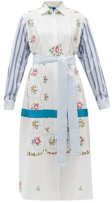 RIANNA + NINA Floral-embroidered Cotton Shirt Dress - Multi