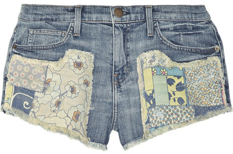 Current/Elliott The Gam patchwork distressed stretch-denim shorts