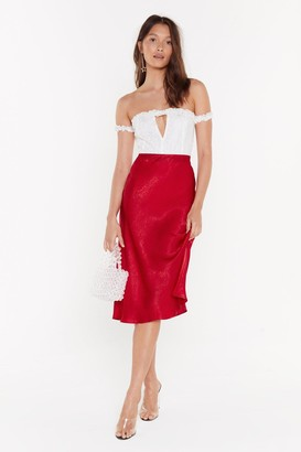 Nasty Gal Womens Touch By Touch Satin Midi Skirt - Red - 8