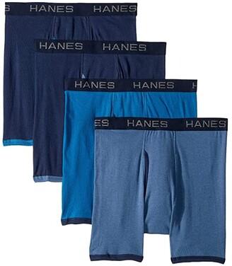 Hanes 4-Pack Core Cotton Platinum Ringer Boxer Brief (Navy/Blue/Denim/Navy) Men's Underwear