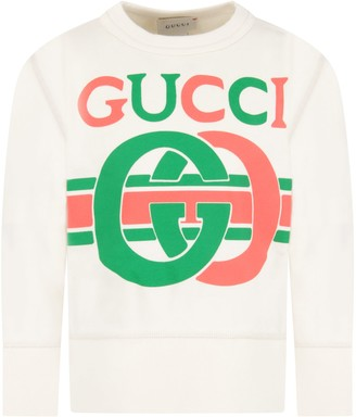Gucci Ivory Sweatshirt With Logo For Kids