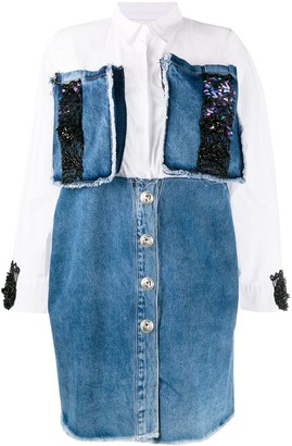 Loulou Embellished Denim Shirt Dress