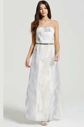Little Mistress Silver and White Organza Embroidered Maxi Dress