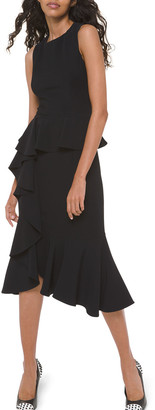 Michael Kors Asymmetric Cascading Sheath Dress