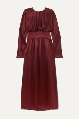 Deitas Hermine Gathered Silk-satin Maxi Dress - Burgundy