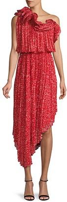 AMUR Floral-Print One-Shoulder Asymmetrical Blouson Dress
