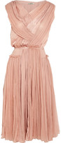 Nina Ricci Gathered silk-chiffon and washed-satin dress