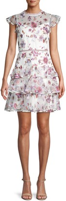 ML Monique Lhuillier Floral Embroidery Tulle Fit-&-Flare Dress