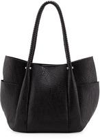 Neiman Marcus Braided Handle Pleated Bag, Black