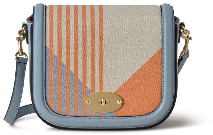 Mulberry Small Darley Satchel Apricot and Cloud Striped Printed Patchwork